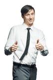 Hombre de negocios joven que gesticula la muestra aceptable Fotografía de archivo