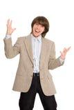 Hombre de negocios joven que grita Imágenes de archivo libres de regalías