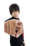 Hombre de negocios joven que señala en algo interesante Foto de archivo libre de regalías