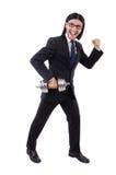 Hombre de negocios joven que sostiene el barbell aislado encendido imagen de archivo