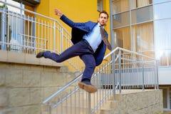 Hombre de negocios Jumping Imagen de archivo libre de regalías