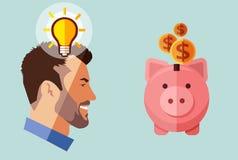 Hombre de negocios de la barba del inconformista con la idea que mira la hucha con el dinero Pluma, lentes y gráficos stock de ilustración