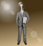 Hombre de negocios With Laptop de la cabeza de la lámpara del vector Imagen de archivo