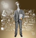 Hombre de negocios With Laptop de la cabeza de la lámpara del vector Foto de archivo libre de regalías