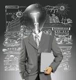 Hombre de negocios With Laptop de la cabeza de la lámpara del vector Imágenes de archivo libres de regalías