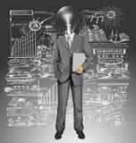 Hombre de negocios With Laptop de la cabeza de la lámpara del vector Imagenes de archivo