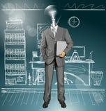 Hombre de negocios With Laptop de la cabeza de la lámpara del vector Fotos de archivo libres de regalías
