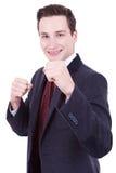 Hombre de negocios listo para una lucha Imagen de archivo libre de regalías