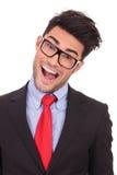 Hombre de negocios loco con la boca abierta Imagenes de archivo