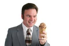 Hombre de negocios loco para el helado Imagenes de archivo