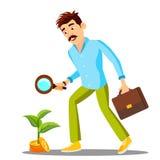 Hombre de negocios Looking For Money con la lupa en el piso, vector de la búsqueda de la inversión Ilustración aislada stock de ilustración