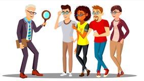 Hombre de negocios Looking At una lupa de la gente Búsqueda del personal, vector del concepto de la hora Ilustración ilustración del vector