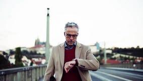 Hombre de negocios maduro con el bolso que camina en un puente en la ciudad de Praga metrajes