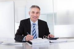 Hombre de negocios maduro en el trabajo Fotografía de archivo libre de regalías