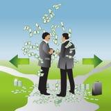Hombre de negocios, maleta de dinero ilustración del vector