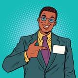 Hombre de negocios Manager con una insignia de nombre Imagenes de archivo