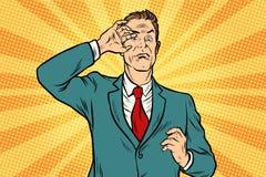 Hombre de negocios masculino asustado stock de ilustración