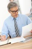 Hombre de negocios mayor que hace papeleo Imagen de archivo libre de regalías