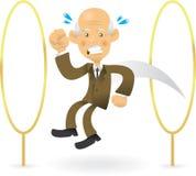 Hombre de negocios mayor que salta a través de aros Fotografía de archivo libre de regalías