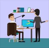 Hombre de negocios mayor y menor que discute en la tabla así como el ordenador libre illustration