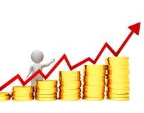 Hombre de negocios Means Success Successful y actividad bancaria de las monedas de la representación 3d Foto de archivo