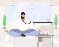 Hombre de negocios Meditating Sit de la historieta en oficina de la tabla libre illustration