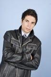 Hombre de negocios moderno en la chaqueta de cuero Imagen de archivo libre de regalías