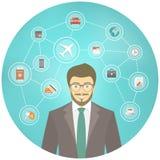 Hombre de negocios moderno Travel Conceptual Infographics Foto de archivo libre de regalías