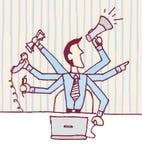 Hombre de negocios multi/Stressed de la asignación ocupado Fotos de archivo