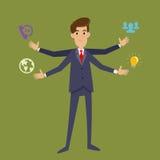 Hombre de negocios multi With Four Arms de la asignación Imagen de archivo