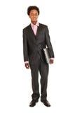 Hombre de negocios negro con la computadora portátil Imágenes de archivo libres de regalías