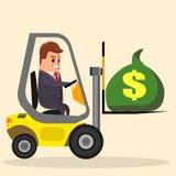 Hombre de negocios o encargado del vector que conduce una carretilla elevadora Camión con el dinero Ejemplo común plano cargador Imagen de archivo libre de regalías