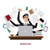 Hombre de negocios ocupado en el lugar de trabajo ilustración del vector