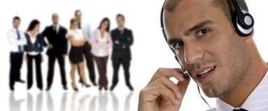Hombre de negocios ocupado en llamada de teléfono Imagen de archivo libre de regalías