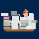 Hombre de negocios ocupado que se sienta en el lugar de trabajo libre illustration