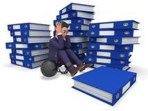Hombre de negocios Overload Work Represents que sobrecarga carga y respuesta Fotos de archivo libres de regalías