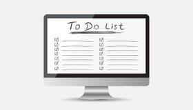 Hombre de negocios para hacer la lista, lista de control con el ordenador Icono de la lista de verificación Foto de archivo libre de regalías