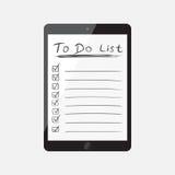 Hombre de negocios para hacer la lista, lista de control con la tableta Compruebe el li Fotos de archivo libres de regalías