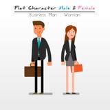 Hombre de negocios plano de carácter, mujer imágenes de archivo libres de regalías