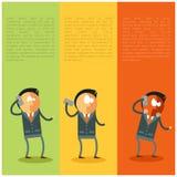 Hombre de negocios plano y malas noticias de su teléfono stock de ilustración