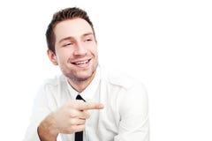 Hombre de negocios poinging en alguien Imagen de archivo libre de regalías