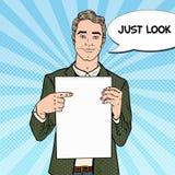 Hombre de negocios Pointing en la hoja en blanco Presentación del asunto Ejemplo retro del arte pop ilustración del vector