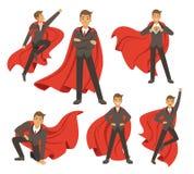 Hombre de negocios potente en diversas actitudes del super héroe de la acción Ejemplos del vector en estilo de la historieta Imágenes de archivo libres de regalías