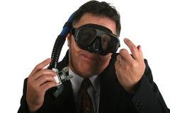 Hombre de negocios preparado para hundirse con su negocio Fotos de archivo libres de regalías