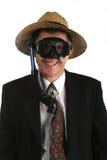 Hombre de negocios preparado para hundirse con su negocio Imagen de archivo