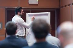 Hombre de negocios Presenting de Skiled un proyecto a su equipo del trabajo en la reunión Informal Company imagen de archivo libre de regalías