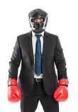 Hombre de negocios protegido listo para los competidores fotografía de archivo