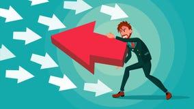 Hombre de negocios Pushing Arrow Vector Concepto de la estrategia empresarial Colocación hacia fuera de la muchedumbre Diversa id libre illustration