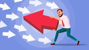 Hombre de negocios Pushing Arrow Vector Dirección opuesta Concepto de la estrategia empresarial Colocación hacia fuera de la much stock de ilustración
