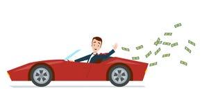 Hombre de negocios que aleja un coche de deportes del rojo y que lanza el dinero ilustración del vector
